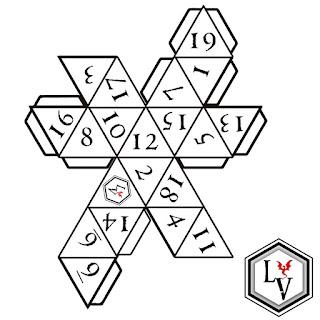 Dado de veinte caras o D20 icosaedro regular papercraft estilo Ludoteca Virtual
