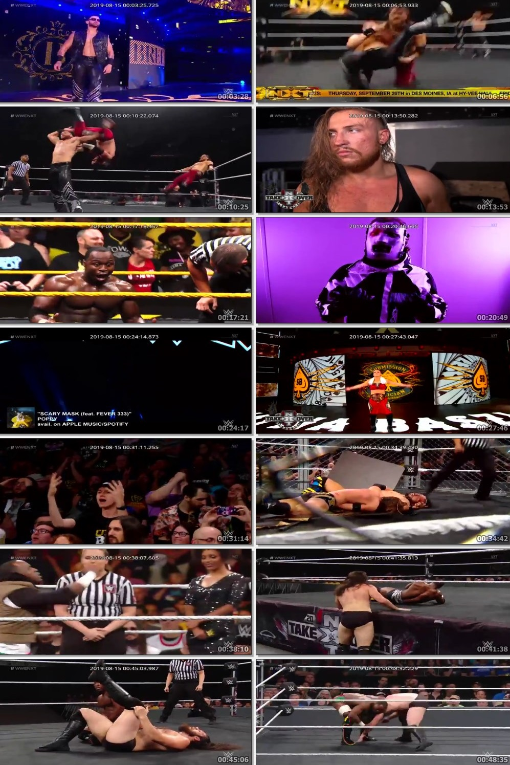 Screen Shot Of WWE NXT 14th August 2019 HDTV 480P 300MB