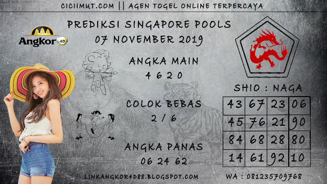 PREDIKSI SINGAPORE POOLS 07 NOVEMBER 2019