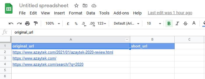 sample spreed sheet for url shortening