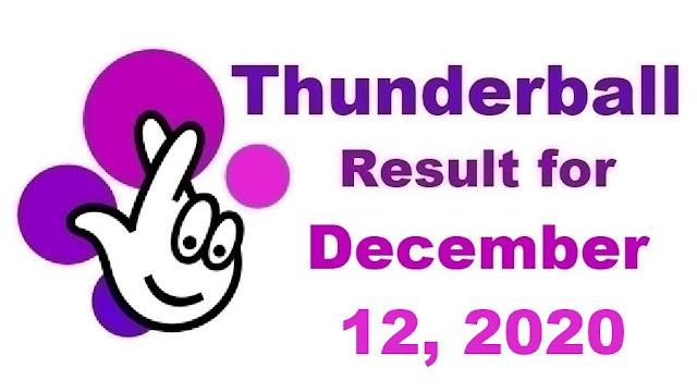 Thunderball Results for Saturday, December 12, 2020