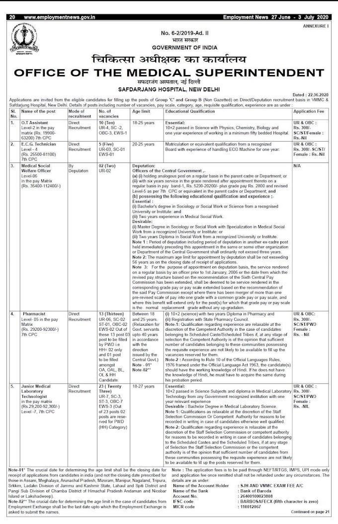 VMMC & Safdarjang Hospital Recruitment 2020 O.T Asst, ECG Technician, Pharmacist, Technologist – 51 Posts www.vmmc-sjh.nic.in Last Date Within 30 days