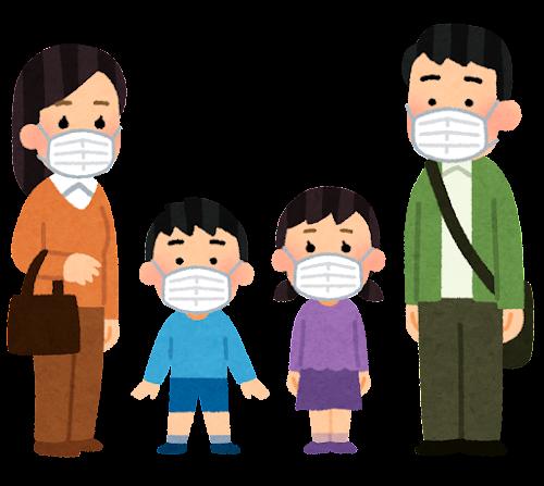 マスクを付けた家族のイラスト