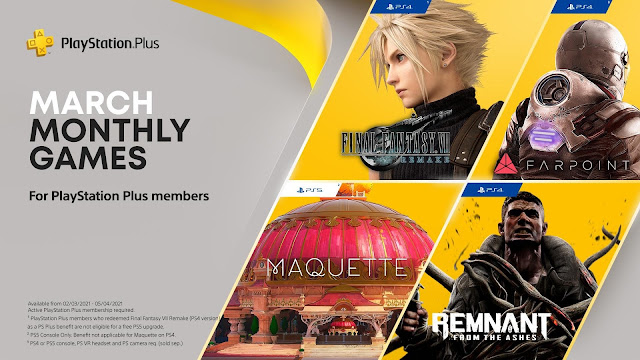 PlayStation March Monthly Games - Final Fantasy VII Remake, Remnant: From the Ashes in the list | TechNeg
