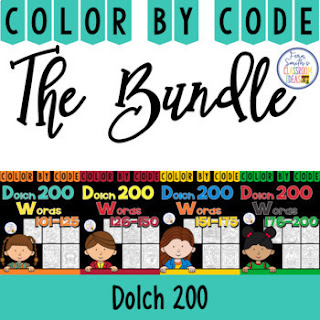 Color By Code Dolch 200 Words Bundle