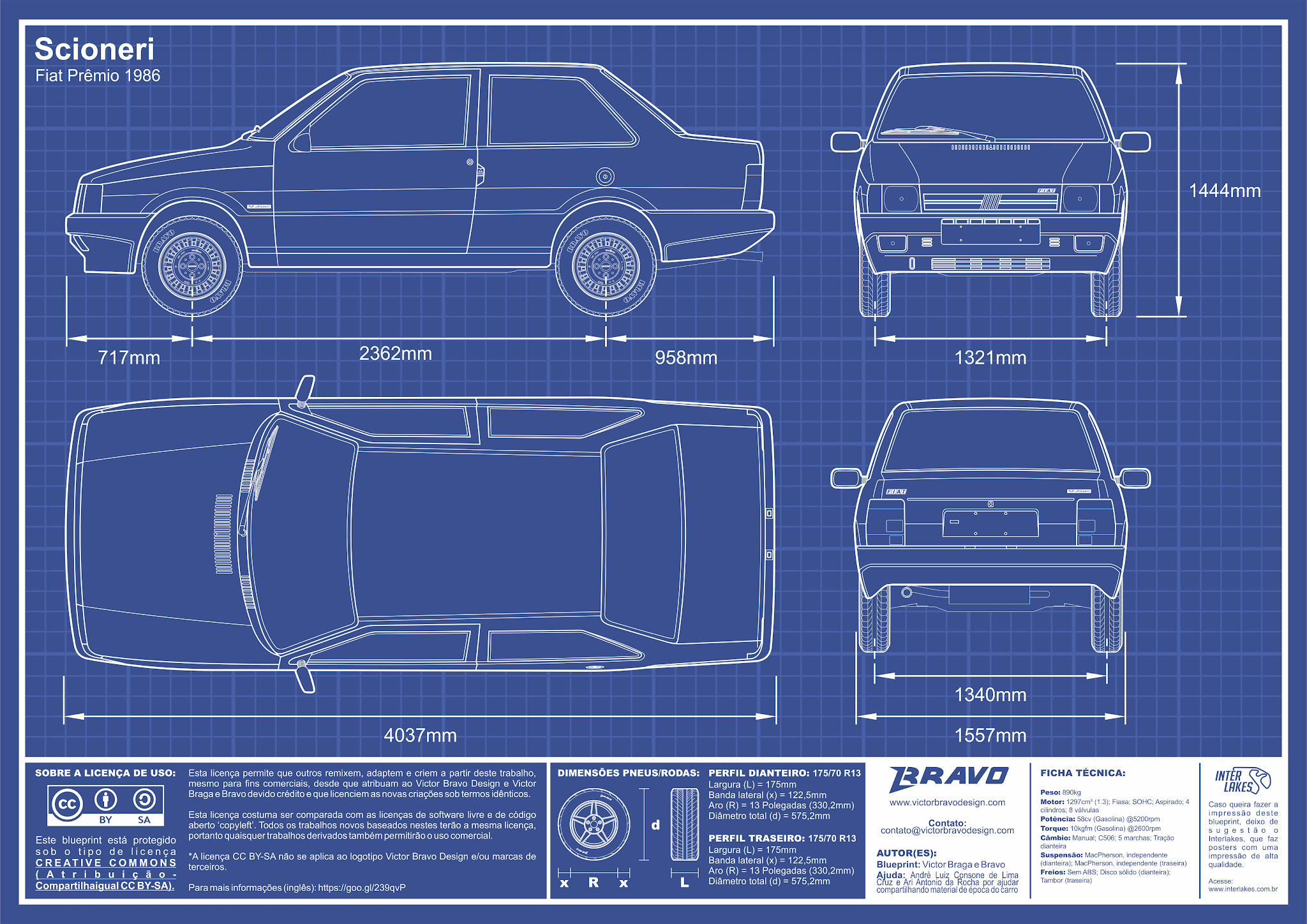 Imagem mostrando o desenho do blueprint do Scioneri Fiat Prêmio 1986