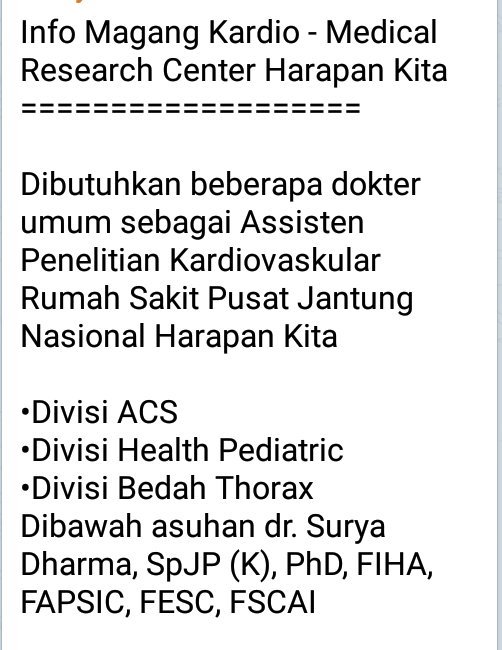 Info Magang Kardio - Medical Research Center Harapan Kita  ===================