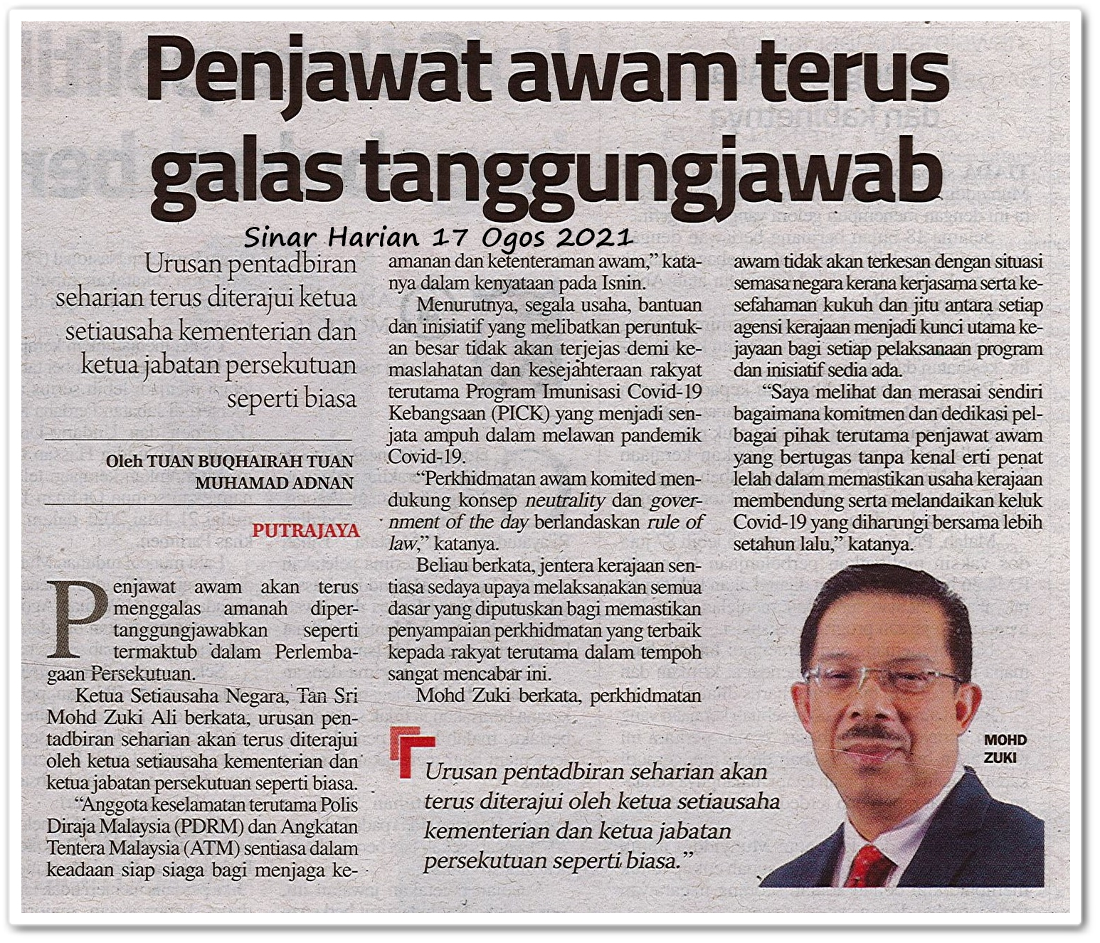 Penjawat awam terus galas tanggungjawab - Keratan akhbar Sinar Harian 17 Ogos 2021