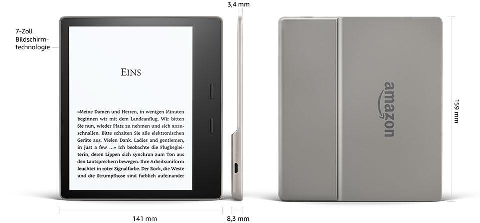 Kindle Oasis 2 - tył i front czytnika. Na tyle obudowy widoczne logo firmy Amazon