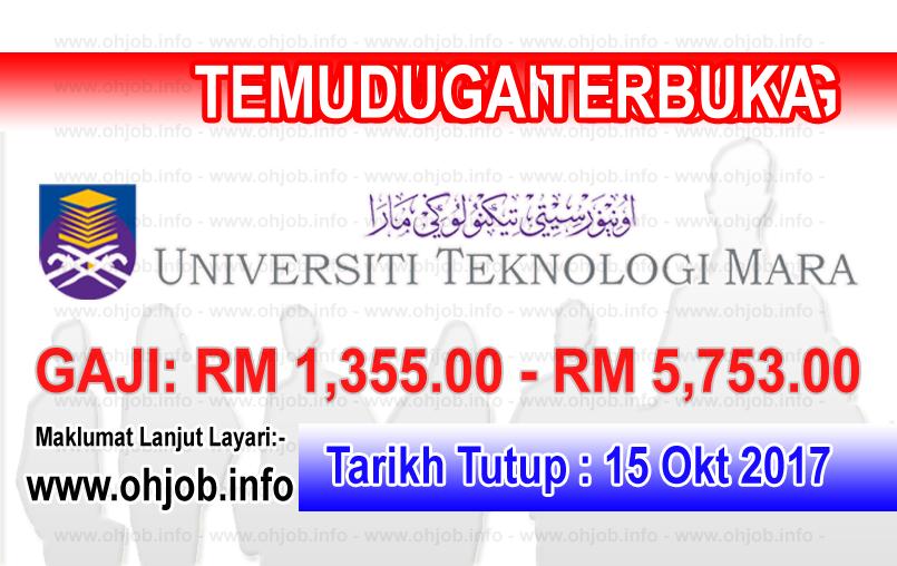 Jawatan Kerja Kosong UiTM - Universiti Teknologi MARA logo www.ohjob.info oktober 2017