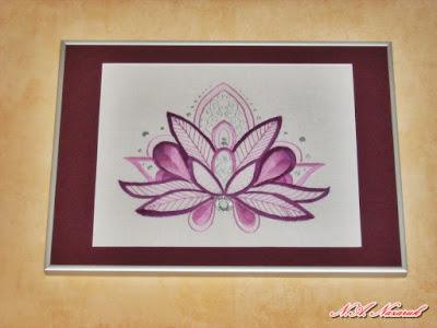 """Ręcznie wyszywany obraz """"Kwiat lotosu 2""""/ Hand-embroidered painting """"Lotus Flower 2"""""""
