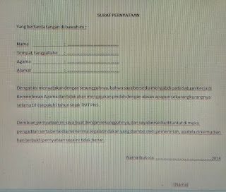 contoh surat lamaran cpns kemenag
