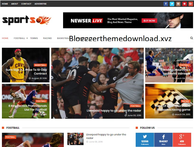 SportsMag Blogger Template Free Download