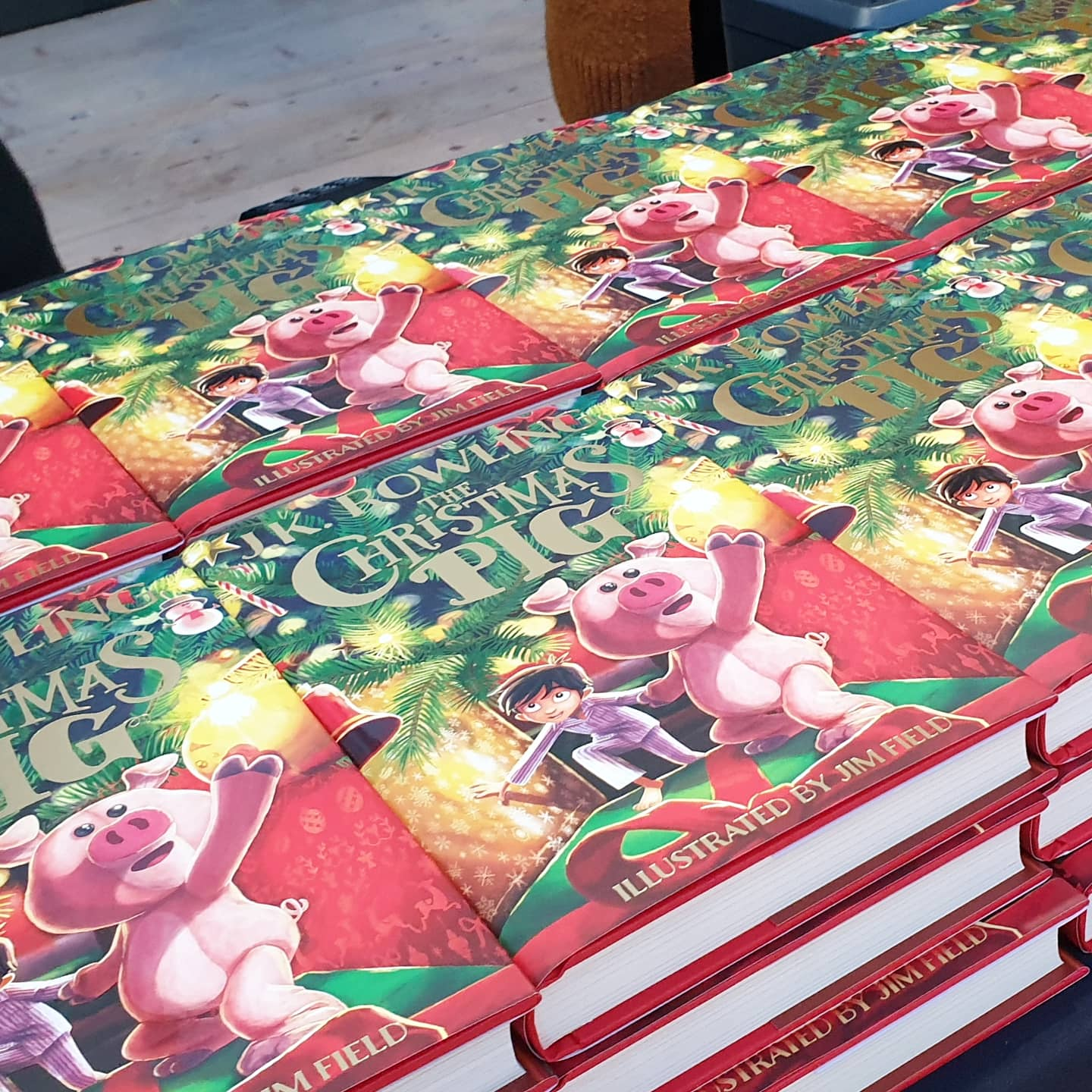 table full of the christmas pig books