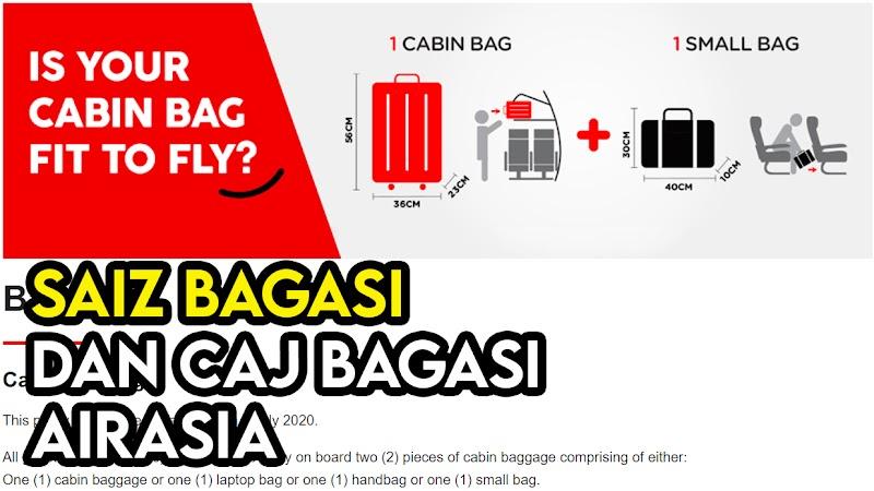 Saiz dan Berat Bagasi Dibenarkan Serta Caj Bayaran untuk Menaiki Pesawat Airasia
