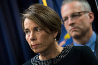 After a four-year investigation, Massachusetts Attorney General Maura Healey filed suit against Exxon on Oct. 24, 2019, accusing the oil giant of misleading investors with its disclosures and the public through its advertising. (Credit: Drew Angerer/Getty Images) Click to Enlarge.