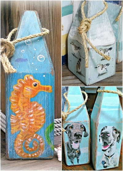 Art Wood Buoys Painted Sea Life Dogs Seahorse Sand Pipers