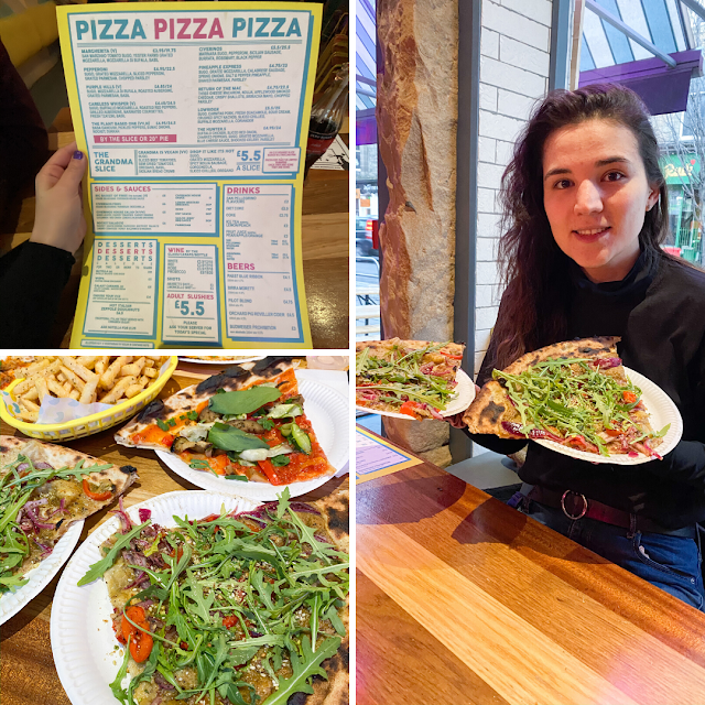 Layout of 3 photos. The top left is a Civerinos menu. The bottom left is 3 slices of pizza topped with greens and a basket of fries. The main photo on the right is myself smiling and holding two big slices of pizza.
