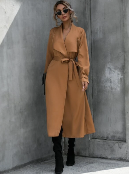 Long camel trench coat with belt