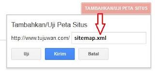 Mengirim peta situs digoogle search console