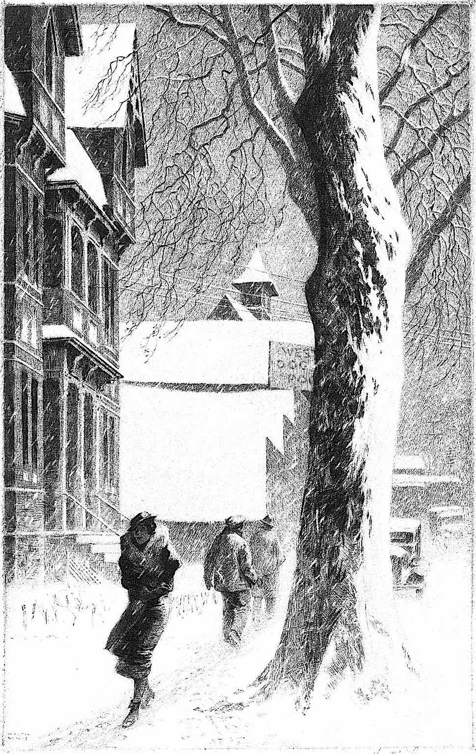a Martin Lewis print of people walking in an urban snow storm