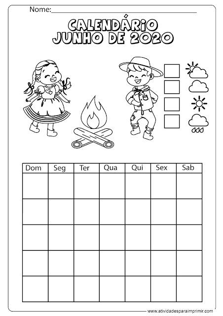 calendário junho de 2021 para imprimir e colorir