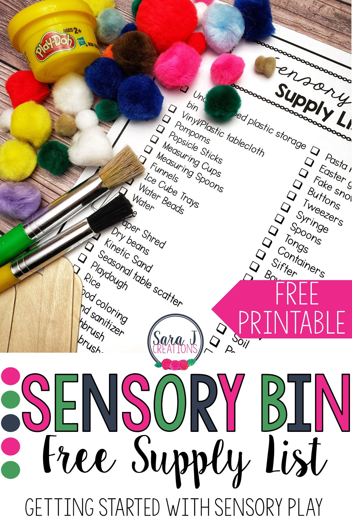 Free supply list to help you get started with sensory bins for your babies, toddlers or preschoolers.