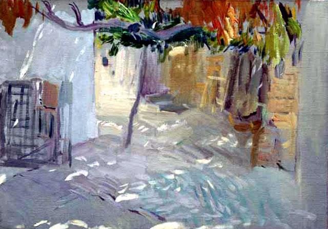Patio de Ibiza, El patio, Interior de Patio, Joaquín Sorolla y  Bastida, Joaquín Sorolla, Paisajes de Joaquín Sorolla, Impresionismo Valenciano, Joaquín Sorolla Bastida