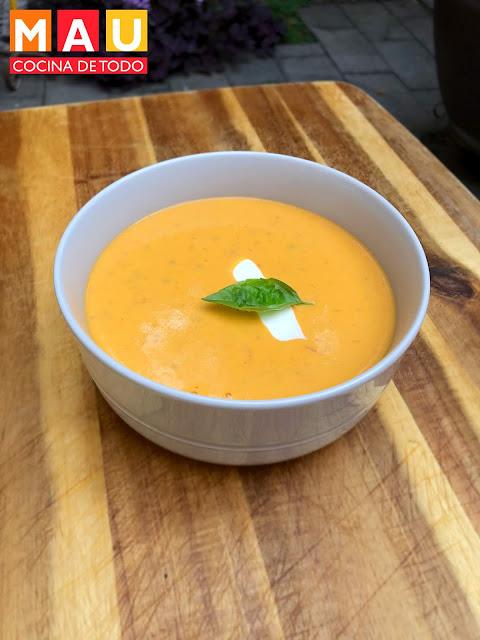 mau cocina de todo, crema de tomate, sopa, facil. receta, rostizado