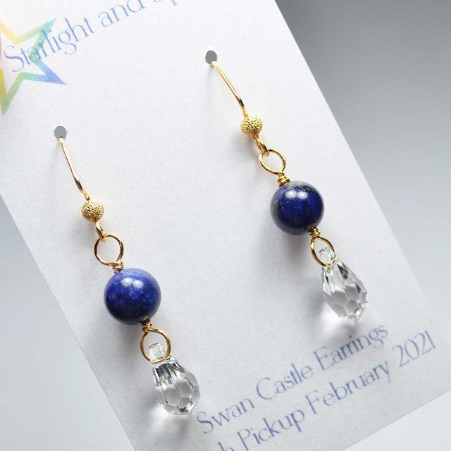 blue bead drop earrings