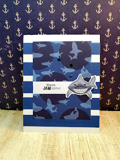 You're Jaw-some by Sandi features Shark Bites by Newton's Nook Designs; #inkypaws, #newtonsnook, #sharkcards, #cardmaking