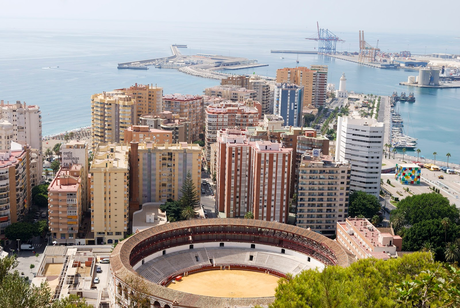 malaga spain bullfighting ring beach views port
