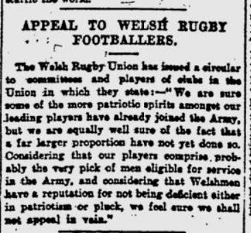 John's Labour blog: Appeal to Welsh Rugby Footballers (1914)