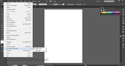 Cara menentukan mode warna yang akan digunakan saat akan membuat desain di adobe Illustrator