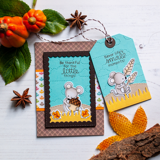 Fall Mouse Card by Zsofia Molnar | Autumn Mice Stamp Set, Land borders die set, Fancy Edges Tag Die Set and Framework Die Set by Newton's Nook Designs #newtonsnook #handmade