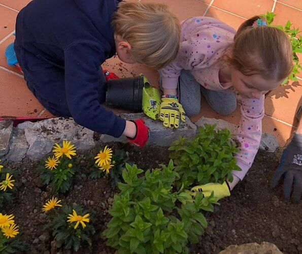 The photos show Hereditary Prince Jacques and Princess Gabriella planting flowers in the garden at Roc Agel in Monaco