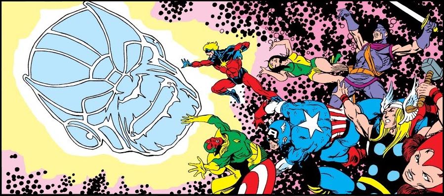 Various superheroes floating in space against 'Kirby Krackle' beside large disembodied head of Thanos