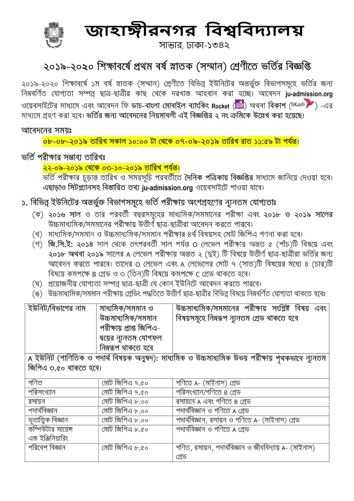Jahangirnagar University Admission Notice 2019-20