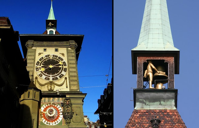 shot of the Zytglogge tower in Bern Switzerland,   with the astronomical clock on the bottom and the bell at the top in the tower