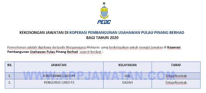 Jawatan Kosong Terkini di Koperasi Pembangunan Usahawan Pulau Pinang Berhad