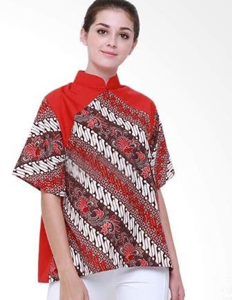 Contoh Model Baju Batik Atasan Untuk Wanita Kantor