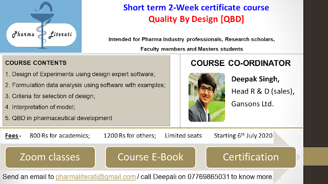 Short Term 2 Week Certificate Course Quality By Design Qbd