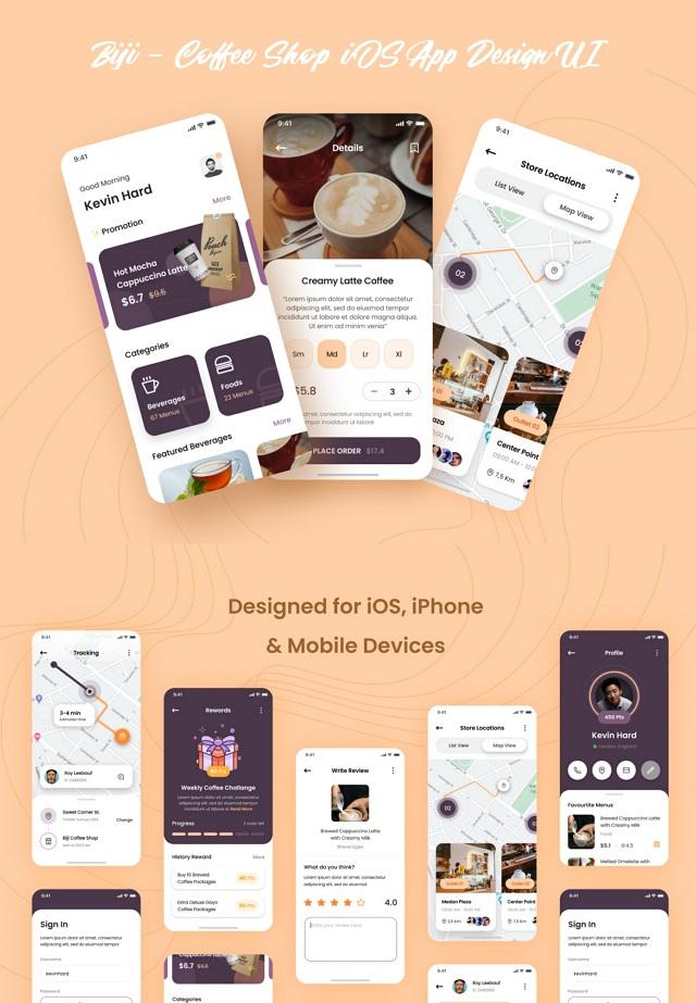 Coffee Shop iOS App Design UI Template