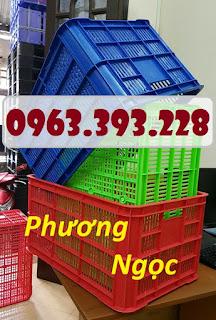 Sọt nhựa cao 31, sọt nhựa nan thẳng HS004, sóng nhựa công nghiệp 61x42x31.