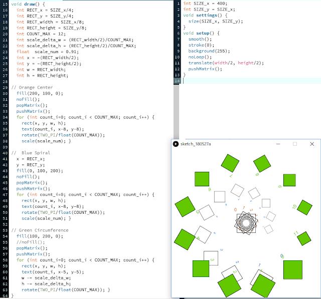 図形ソフトProcessing(プロセシング)で、回転しながら縮小する図形を描く。