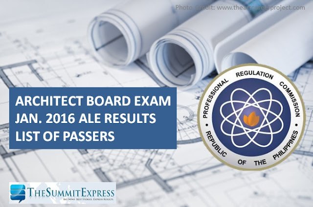 List of Passers: January 2016 Architect board exam (ALE) results
