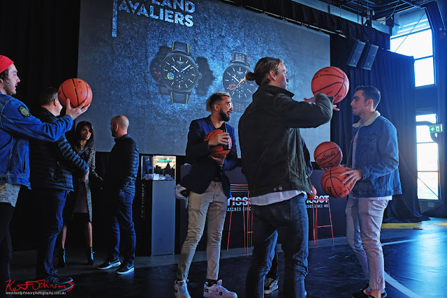 Guests trying the free Spalding basket balls - TISSOT NBA Finals Party Sydney - Photography by Kent Johnson.