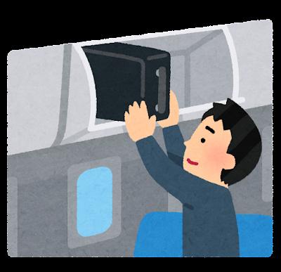 手荷物を棚にしまう乗客のイラスト