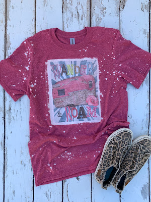 wander and roam bleached tee with vintage camper