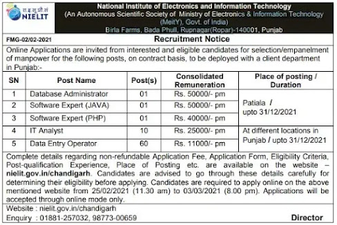 NIELIT Chandigarh Recruitment 2021: Apply for IT And Data Entry Operator Jobs